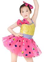 economico -Abbigliamento da ballo per bambini Vestiti Da ragazza Prestazioni Elastene / Elastico / Tulle Fiocco (fiocchi) / Paillettes Senza maniche Naturale Gioielli per capelli / Abito