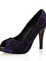 cheap -Women's Shoes Lace / PU(Polyurethane) Spring & Summer Basic Pump Heels Stiletto Heel Peep Toe Black / Purple / Party & Evening