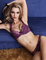 cheap -Women's 3/4 Cup Bras & Panties Sets Push-up / Lace Bras / Underwire Bra - Floral / Jacquard / Embroidered