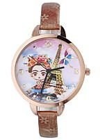cheap -Xu™ Women's Dress Watch / Wrist Watch Chinese Creative / Casual Watch / Lovely PU Band Flower / Eiffel Tower Black / Blue / Red