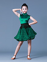 cheap -Latin Dance Dresses Girls' Training / Performance Polyester / POLY / Lace Lace / Tassel Sleeveless Natural Dress / Waist Accessory