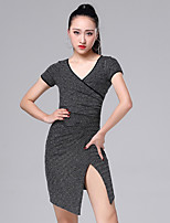 cheap -Latin Dance Dresses Women's Performance Rayon Ruching / Split Short Sleeve Dress