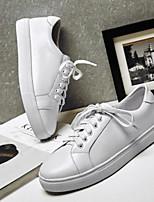 abordables -Mujer Zapatos Cuero de Napa Verano Confort Zapatillas de deporte Tacón Plano Punta cerrada Dorado / Blanco