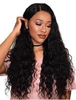 Недорогие -Не подвергавшиеся окрашиванию Лента спереди Парик Бразильские волосы Волнистый Глубокое разделение 130% / 150% / 180% плотность Женский Нейтральный / Черный Жен. Длинные