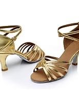 cheap -Women's Latin Shoes PU(Polyurethane) Sandal / Heel Splicing Flared Heel Customizable Dance Shoes Gold