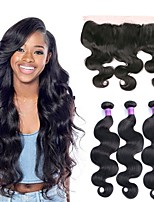 cheap -Brazilian Hair Wavy Natural Color Hair Weaves / Human Hair Extensions / Weave 3 Bundles With  Closure Human Hair Weaves Soft / Hot Sale / Natural Hairline Natural Black Human Hair Extensions Women's