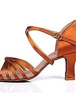 abordables -Femme Chaussures Latines Satin Talon Talon Cubain Personnalisables Chaussures de danse Brun Foncé