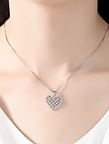 cheap -Women's Cubic Zirconia Choker Necklace / Pendant Necklace - Silver Plated Simple, Classic, Elegant Gold, Silver Heart 48 cm Necklace For Wedding, Evening Party