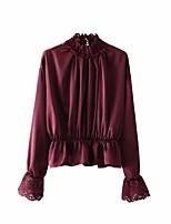 economico -T-shirt Per donna Ufficio Lavoro / Essenziale Pizzo / Con balze / A pieghe, Tinta unita A collo alto - Cotone / Primavera / Taglia piccola