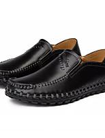 Недорогие -Муж. обувь Кожа Весна & осень Удобная обувь Мокасины и Свитер Черный / Темно-русый / Темно-коричневый