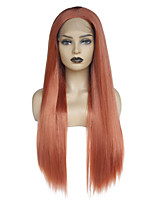 cheap -Synthetic Lace Front Wig Straight Layered Haircut / Middle Part Synthetic Hair Soft / Heat Resistant / Women Red Wig Women's Long Lace Front / Yes