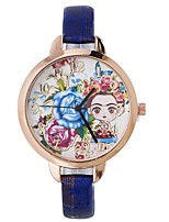 cheap -Xu™ Women's Dress Watch / Wrist Watch Chinese Creative / Casual Watch / Lovely PU Band Flower / Fashion Black / Blue / Red / Large Dial / One Year