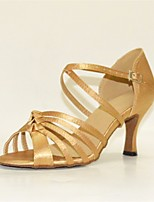 cheap -Women's Latin Shoes Satin Heel Slim High Heel Dance Shoes Gold / Brown / Pink / Performance / Leather / Practice