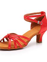 cheap -Women's Latin Shoes Satin Sneaker Cuban Heel Customizable Dance Shoes Red