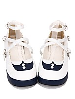 abordables -Chaussures Doux / Marin Princesse Creepers Chaussures Lolita 3 cm CM Blanc / Bleu Encre Pour PU