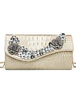 cheap -Women's Bags PU(Polyurethane) Evening Bag Crystals / Flower White / Black / Silver