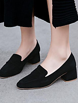 cheap -Women's Shoes Nappa Leather Summer Comfort Heels Chunky Heel Closed Toe Black / Brown / Pink