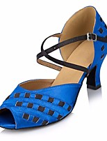 cheap -Women's Latin Shoes Silk Heel Slim High Heel Dance Shoes Red / Blue / Performance / Leather / Practice