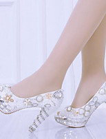 cheap -Women's Shoes Patent Leather Spring Novelty Wedding Shoes Stiletto Heel White