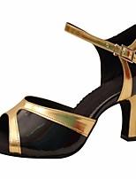abordables -Femme Chaussures Latines Polyuréthane Talon Mince haut talon Chaussures de danse Noir et Or / Utilisation / Cuir / Entraînement