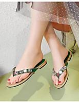cheap -Women's Shoes Cowhide Summer Comfort Slippers & Flip-Flops Flat Heel Green
