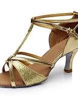cheap -Women's Latin Shoes Synthetics Sandal / Heel Splicing Flared Heel Customizable Dance Shoes Gold