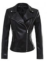 Недорогие -Жен. Кожаные куртки Уличный стиль - Однотонный Заклепки