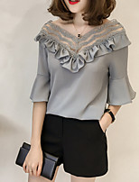 cheap -women's going out blouse - solid colored deep v