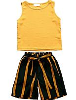 cheap -Kids Girls' Striped / Geometric Sleeveless Clothing Set