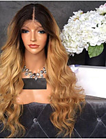 cheap -Remy Human Hair Lace Front Wig Brazilian Hair Wavy Layered Haircut 130% Density Ombre Hair / Dark Roots Blonde Short / Long / Mid Length