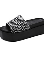 cheap -Women's Shoes PU(Polyurethane) Summer Comfort Slippers & Flip-Flops Creepers Round Toe Black / Black / White