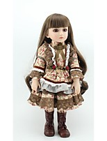 abordables -NPKCOLLECTION Muñeca con balón Chica de campo 18 pulgada Cuerpo completo de silicona / Silicona / Vinilo - Artificial Implantation Brown Eyes Kid de Chica Regalo