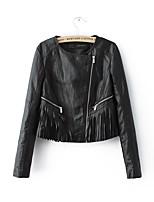 Недорогие -Жен. На выход / Офис Кожаные куртки Рубашечный воротник Уличный стиль - Однотонный, Искусственная кожа С кисточками