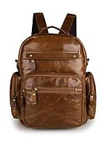 cheap -Men's Bags Cowhide Backpack Zipper Brown