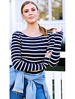 cheap -women's going out / beach t-shirt - striped crew neck