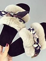 cheap -Women's Shoes Suede Spring Comfort Slippers & Flip-Flops Flat Heel Black / Beige / Pink