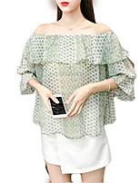 cheap -women's going out blouse - polka dot boat neck