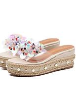 cheap -Women's Shoes Faux Leather Summer Comfort Slippers & Flip-Flops Wedge Heel Open Toe Sequin Black / Almond