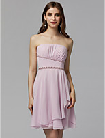 cheap -A-Line Strapless Short / Mini Chiffon Cocktail Party / Homecoming Dress with Beading / Pleats by TS Couture®
