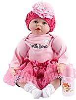 Недорогие -FeelWind Куклы реборн Девочки 22 дюймовый как живой, Искусственные имплантации Голубые глаза Детские Девочки Подарок