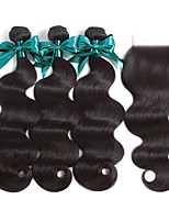 cheap -Peruvian Hair Wavy Natural Color Hair Weaves / Human Hair Extensions / Hair Weft with Closure 3 Bundles With  Closure 8-22 inch Human Hair Weaves 4x4 Closure Best Quality / New Arrival / For Black