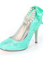 cheap -Women's Shoes Satin Spring & Summer Basic Pump Wedding Shoes Stiletto Heel Round Toe Imitation Pearl / Ribbon Tie Green / Blue / Ivory / Party & Evening