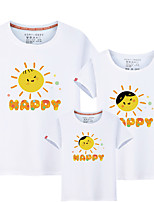 cheap -Kids Family Look Solid Colored / Letter Short Sleeve Tee