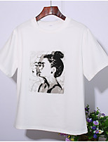 cheap -Women's T-shirt - Solid Colored / Portrait Print