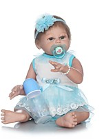cheap -NPKCOLLECTION Reborn Doll Baby Girl 22 inch Full Body Silicone / Vinyl - Artificial Implantation Brown Eyes Kid's Girls' Gift