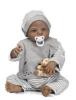 Недорогие -NPKCOLLECTION Куклы реборн Мальчики 24 дюймовый Полный силикон для тела / Силикон / Винил - как живой, Искусственная имплантация Коричневые глаза Детские Мальчики Подарок