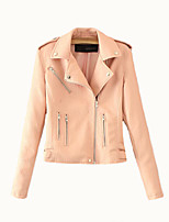 abordables -Veste de cuir Femme - Couleur Pleine Col de Chemise