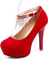 cheap -Women's Shoes Suede Spring Basic Pump Heels Stiletto Heel Round Toe Rhinestone / Tassel Black / Red / Wedding / Party & Evening