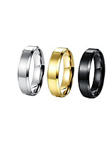 cheap -Men's Coin Band Ring - Titanium Steel, Silver Plated, Gold Plated Simple, Korean, Fashion 5 / 6 / 7 Gold / Black / Silver For Daily / Street