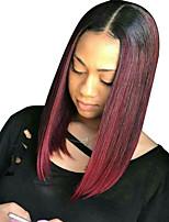 Недорогие -Remy Лента спереди Парик Бразильские волосы Прямой Короткий Боб 130% плотность Короткие Жен. Парики из натуральных волос на кружевной